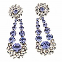Blue Crystal Flower Pendant Drop Earrings, Blue Swarovski Crystals