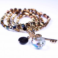 4 Charms, 4 Bracelets Gold, Bronze Coloured Crystal, Beads, by Bcharmd