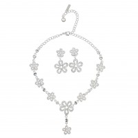 Clear Crystal Jewellery Set - Necklace and Earrings of Summer Flowers, Clear Swarovski Crystals