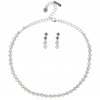 Clear Crystal Jewellery Set - Square Rows of Clear White Diamond Swarovski Crystals