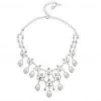 Clear Crystal Necklace 9 Ornate Chandelier Teardrop , Swarovski Clear Crystals