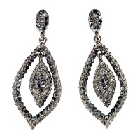 Dangling Tear Drop Crystal Earrings with Jet Black and Black Diamond Swarovski Crystal 65 mm drop length