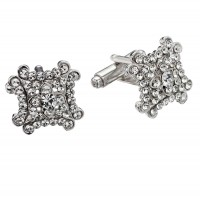 White Diamond Square Decorate Swarovski Crystal Cufflinks Gemini London