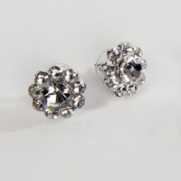 Clear Crystal Stud Earrings - Small Flower, 17mm Diameter
