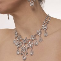 Clear Crystal Necklace 9 Ornate Chandelier Teardrop , Swarovski Clear Crystals