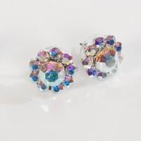 Swarovski AB Crystal Small Flower Stud Earrings - 17m Diameter