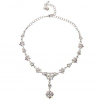 AB Crystal Flower Motif Jewellery Set AB & Clear Swarovski Crystals