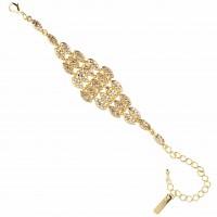 Gold Diamond Shaped Bracelet, Topaz Gold Swarovski Crystals, Gold Plated