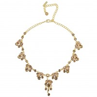 Gold Crystal Necklace, Chandelier Drop