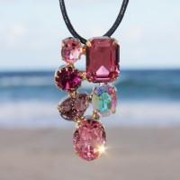 Martine Wester Crystal Craze Pink Pendant Necklace