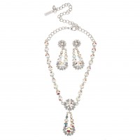 AB Crystal Flower Pendant Drop Necklace and Earrings Set, AB Swarovski Crystals