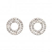 Circle Cluster Necklace and Earrings, White Diamond Swarovski Crystals