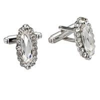 Swarovski White Diamond Crystal Oval Cufflinks Cubic Zirconia