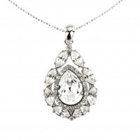 Tear Drop Swarovski Crystal Pendant Necklace, Rhodium Plated (Necklace only)