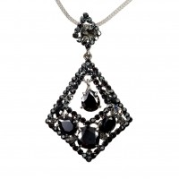 Rhombus Diamond Swarovski Jet Black Diamond Crystal Pendant Necklace