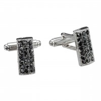 Jet Black Rectangle Swarovski Crystal Cufflinks Gemini London