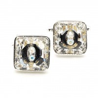 White Diamond Clear Square Swarovski Crystal Cufflinks Gemini London