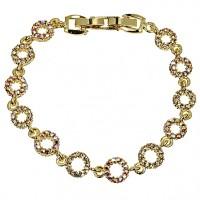 Gold Crystal Circle Bracelet, Topaz Gold & AB Topaz Gold Swarovski Crystals