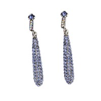 Blue Baton Crystal Necklace and Earrings Set, Blue Tanzanite and Tanzanite AB Swarovski Crystals