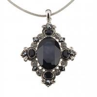 Vintage Swarovski Black Diamond & Jet Crystal Pendant Necklace, Rhodium Plated, Nickel Free
