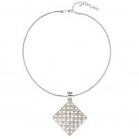 White Diamond Swarovski Crystal Cluster Diamond Pendant Necklace