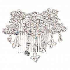 AB & Clear Swarovski Crystal Flower Hair Comb AB and White Diamond Swarovski Crystals