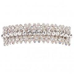 Four Petal AB Swarovski Crystal Flowers with Single Clear Swarovski Crystal Accent Hair Paris Clip-Slide