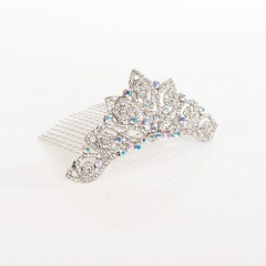AB Crystal Tiara Hair Comb, Mini Leaf Swirl, Clear and AB Swarovski Crystal