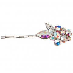 Ab & Clear Swarovski Crystal Hair Slide, Leaf