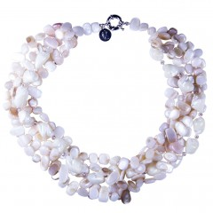 White/Cream Necklace Shell, Crystal, Semi-Precious Stones  Made in England Bcharmd.