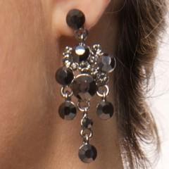 Black Crystal Earring Set, Cluster Drops Swarovski Black Crystal