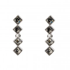Black Crystal Diamond Row Earrings, Black Diamond Swarovski Crystals, Rhodium Plated.