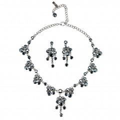 Black Crystal Necklace and Earring Set, Cluster Drops Swarovski Black Crystal