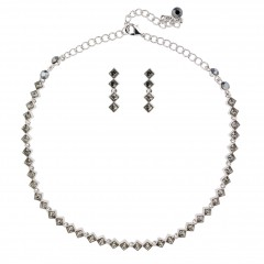 Black Crystal Diamond Row Necklace and Earrings Set, Black Diamond Swarovski Crystals, Rhodium Plated.