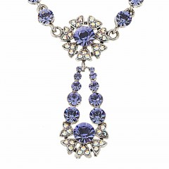 Blue Crystal Flower Pendant Drop Necklace Pendant  Blue Swarovski Crystals
