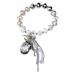 Crystal Charm Bracelet, Smokey Quartz, Black & Clear Crystals. Designer bcharmd, England UK