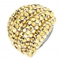 AB Cal Topaz Swarovski Crystal Cluster Band Ring (large), Rhodium Plated Silver Finish. Gemini London Jewellery