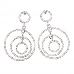 Clear Crystal Earrings, Circles, 58mm Drop, White Diamond Swarovski Crystals