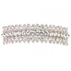 Four Petal Swarovski Crystal Flowers with Single Clear Swarovski Crystal Accent, Hair Paris Clip-Slide