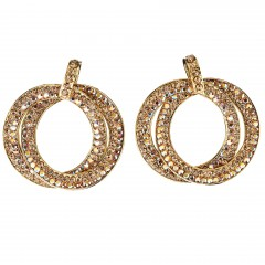 Double Circle Hoops Crystal Earrings with Gold, Gold, AB topaz Swarovski Crystal - length 45mm - Gemini London