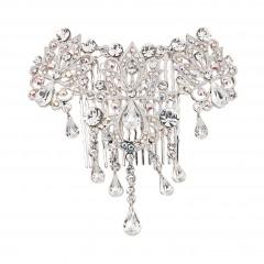 Teardrop Ornate AB and Clear Swarovski Crystal Hair Comb dancejewellery.co.uk