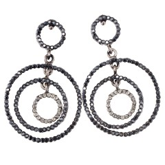 Fashion Triple Circle Drop Earrings Swarovski Jet Black Diamond Crystals