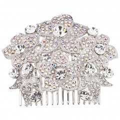 AB Clear Swarovski Crystals, Flower Hair Comb Nickel Free