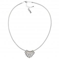 Linear Fan of White Diamond Swarovski Crystal Clusters Pendant Necklace