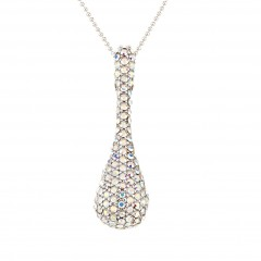 AB Aurora Boreali Swarovski Crystal Peanut Pendant Necklace, Rhodium Plated