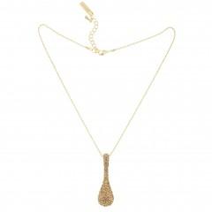Gold Topaz Swarovski Crystal Peanut Pendant Necklace