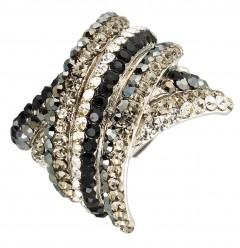 Kriss Cross Adjustable Fashion Ring with Jet Black, Grey AB and Clear, Swarovski Crystal & Rhodium Plated Silver Finish. Gemini London Jewellery