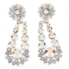 AB Crystal Flower Pendant Drop Earrings, AB Swarovski Crystals