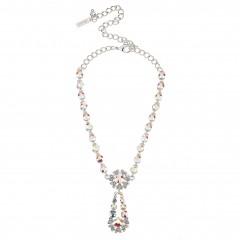 AB Crystal Flower Pendant Drop Necklace, AB Swarovski Crystals