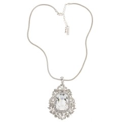 Emerld-cut Hexagonal White Diamond Swarovski Crystal with Floral Crystal Cluster Pendant Necklace
